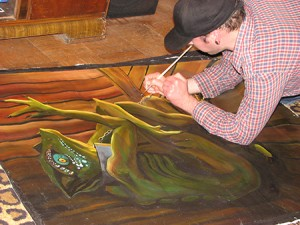 Craig working on his Lizard Man painting