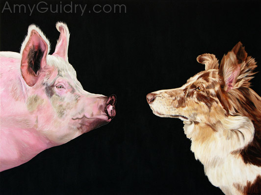 """Food or Pet? How Do You Decide?"" by Amy Guidry; Acrylic on canvas; 40""w x 30""h; Sold; (c) Amy Guidry 2016"
