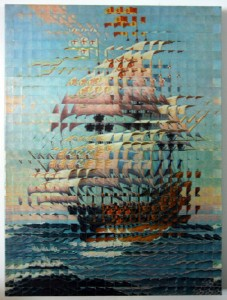 """Ship"" by Troy Dugas; vintage prints on wood panel"