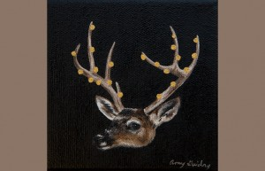 """""""Memento"""" by Amy Guidry; Acrylic on canvas; 4"""" x 4""""; SOLD; (c) Amy Guidry 2014"""