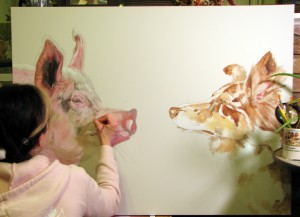 "Progress photo of ""Food or Pet? How Do You Decide?"" by Amy Guidry; Acrylic on canvas; 40""w x 30""h; SOLD; (c) Amy Guidry 2014"