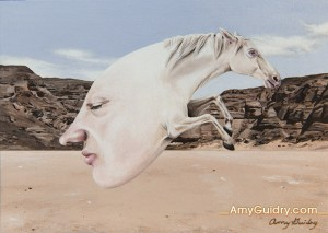 """Interdependence"" by Amy Guidry; Acrylic on 600 gsm pressed paper postcard; 6""w x 4""h; SOLD; (c) Amy Guidry 2014"