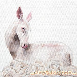 """Spring"" by Amy Guidry; Acrylic on canvas; 4"" x 4""; SOLD; (c) Amy Guidry 2016"